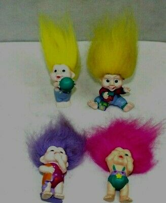 TROLLS vintage lot of 4 all babies with original clothes 3 in. great condition