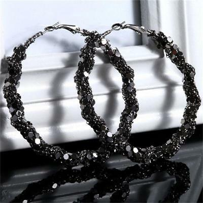 Woman Large Bling Big Circle Loop Hoop Round Earring Charm Jewelry SS3