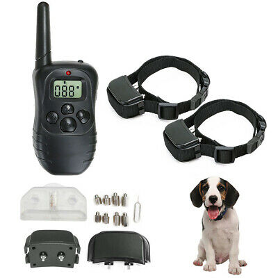 Electric LCD Anti-Bark Shock E-Collar 2 Dog Training Rechargeable Remote Control