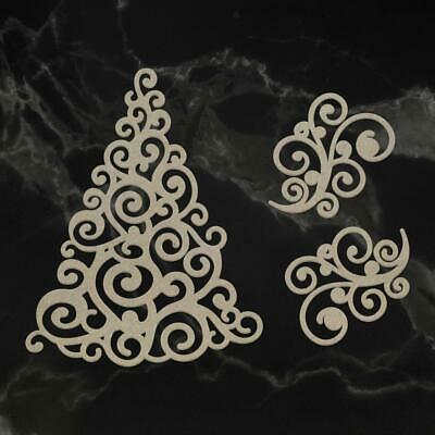 Couture Creations Christmas Chipboard - Naughty or Nice Swirling Christmas Tree