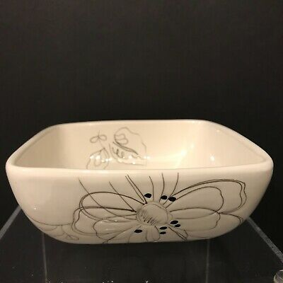 Laurie Gates White Floral Square Soup Salad Cereal Bowl California Dinnerware