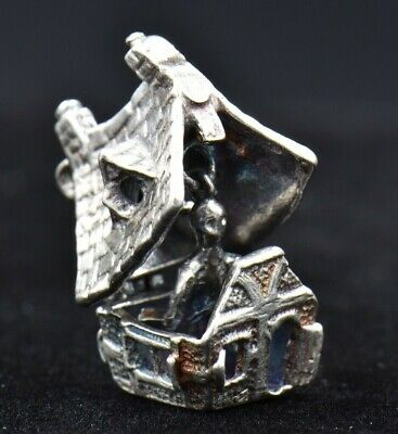 Vintage Haunted House OPENS Ghost Inside Sterling Silver Charm 925 Heavy 7g 3D