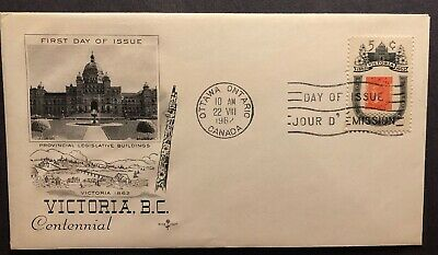 Canada #399 FDC - Victoria 1962 Stamp Cover - First Day of Issue Cachet + CDS