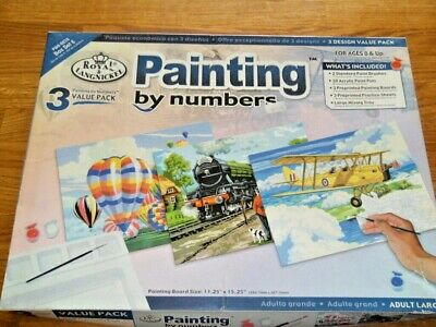 Painting By Numbers, 3 Designs, Value Pack, Royal Langnickel, Adult Large