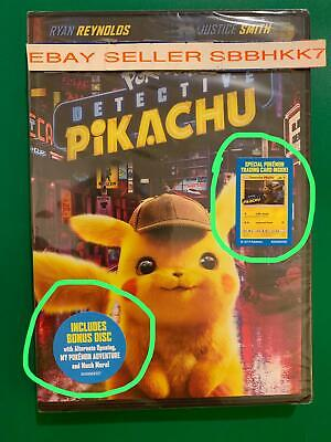 Pokemon: Detective Pikachu DVD 2 DISC {AUTHENTIC READ DESCRIPTION} New Free Ship
