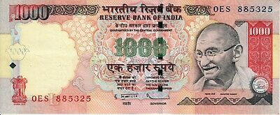 India 1000 One Thousand Rupees banknote 2011