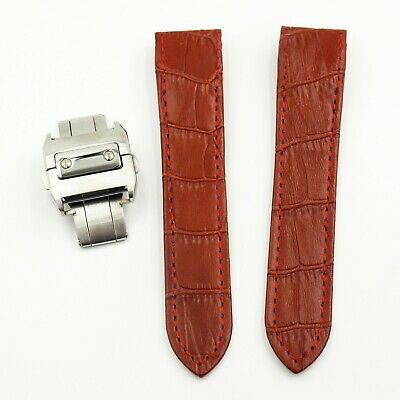 20Mm Red Alligator-Embossed Calf Leather Strap For Santos De Cartier