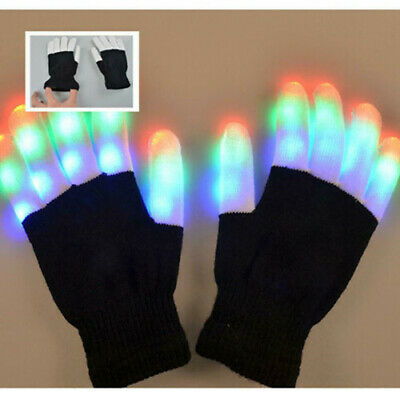 LED Colorful Flashing Gloves Finger Glowing in Halloween Night  Adults children