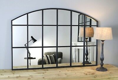 "Bridgewater Black Arched Metal Industrial Window Wall Mirror 48"" x 32"" 120x80cm"