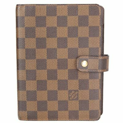 57925 auth LOUIS VUITTON brown Damier canvas Medium Ring Agenda Cover