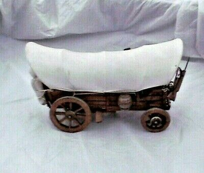 vintage western canvas  covered wooden  wagon  euc  9-5