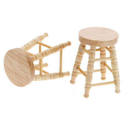 1Pc 1/12 Dollhouse miniature wooden stool chair furniture accessories decTS