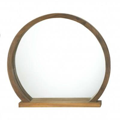 """Round Wooden Mirror With Shelf 16"""" Tall Wall Mount Small Item Shelf Country Chic"""