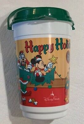 Vintage 1992 1993 Disney Parks Happy Holidays Whirley Popcorn Travel Cup Bucket