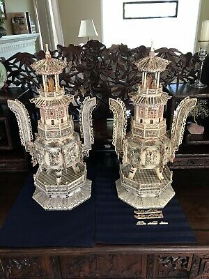 Museum Size Set Of Antique Chinese Carved Bovine Bone Pagoda Censors. 60cm!!