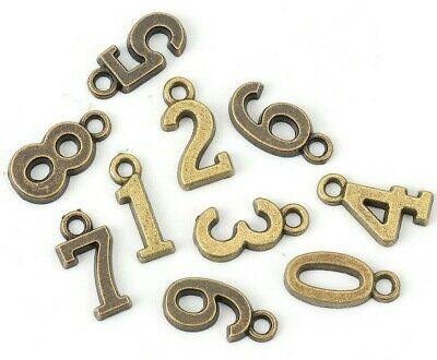 10 MIXED ANTIQUE BRONZE NUMBER CHARMS/PENDANT~ Birthday~Wine Glass Charms (N21)