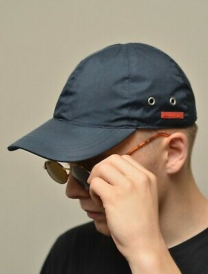 722b8915d PRADA MILANO BLUE Nylon Patched Baseball Cap Hat One Size Made in Italy