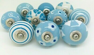 10 Ceramic Door Knobs Vintage Shabby Chic Sky blue and White A3