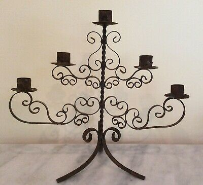 OLD Vintage Rusted Wrought Iron Ribbon Candelabra Candle Stick Holder 5 Candles