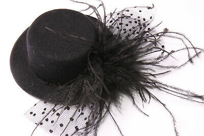 Two Hair Clips Fascinator Black Hat Polka Dot Netting&Feathers Chic Ladies(S609)