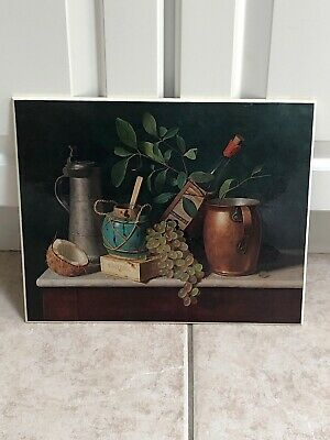 """Vintage 12"""" X 10"""" ART INSTITUTE OF CHICAGO GLOSSY """"STILL LIFE"""" WALL PLAQUE-RARE"""