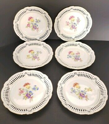 "Schwarzenhammer Bavaria Germany Lot of 6 Vintage Reticulated Floral 7"" Plates"