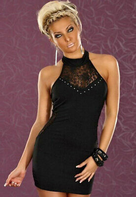 465018 970-01-04031 Mini abito da sera con pizzo e luminose perle Nero Sexy Shop