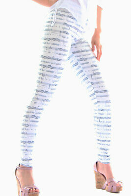 465018 970-08-04870 Leggings Music Notes Sexy Shop Bianco e Nero Taglia Unica 97