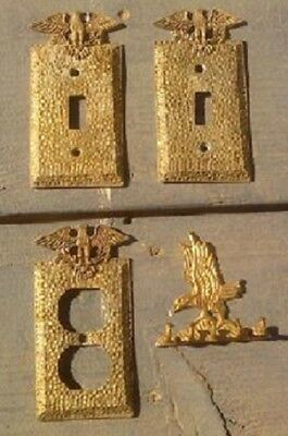Antique Edmar Hammered Outlet / Switch Plate Cover Patriotic Eagle