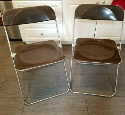 Vintage 2 CASTELLI Italy Folding Mid Century Modern Acrylic Brown Lucite Chairs