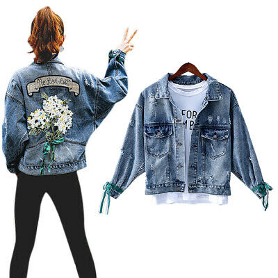 Womens Embroidery Floral Denim Jacket Retro Coat Ripped Casual Outwear Plus Size