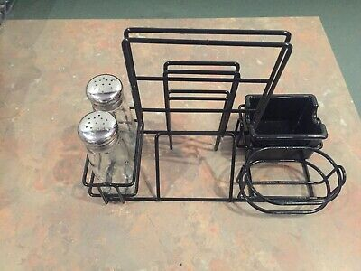Lot of 4 Restaurant Condiment Caddy Caddies Metal Wire Basket Holders