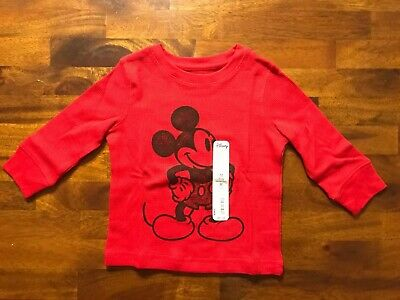 NWT Boys Disney Jumping Beans Mickey Mouse Thermal Shirt Top Size 12 Months
