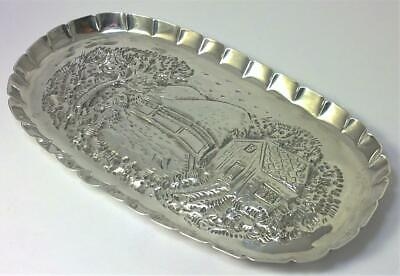 Georgian hallmarked Sterling Silver Pen or Card Tray / Trinket Dish– 1777 (135g)
