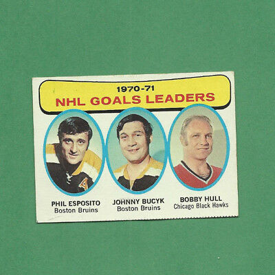 Very Nice 1970-71 Nhl Goals Leaders Trading Card Phil Esposito Bobby Hull Bucyk
