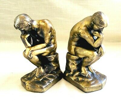 Pair of Vintage Gold Tone Cast Metal/Spelter Book Ends, The Thinker