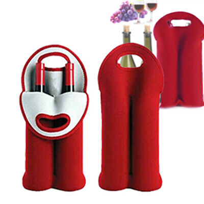 Insulated Neoprene Drink/Wine/Champagne/Beer 2-Bottle Cooler Tote Bag Carrier