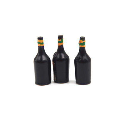 3X Whiskey Wine Bottle Miniature Bar Pub Drink Dollhouse Decor Gift CollectionJH