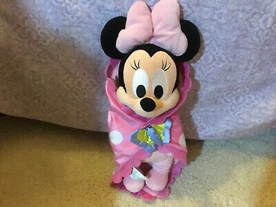 Disney Parks baby Minnie Mouse with blanket plush Exc