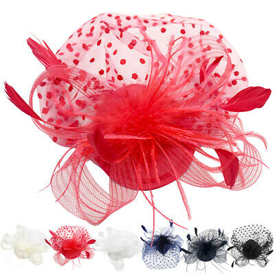 Women Vintage Feather Fascinator Mesh Net Hair Clip Flower Hat For Party Wedding