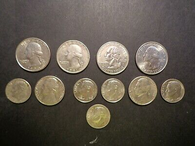 U.s.a. Eleven Coins From A Variety Of Issues -:- In Nice Circulated Condition.