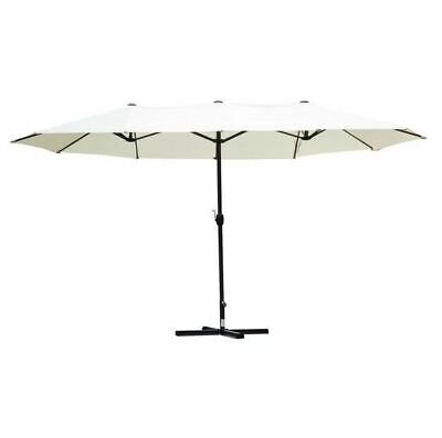 Sol 72 Outdoor Fannin 4.6m Traditional Parasol Metal Frame Cream Canopy