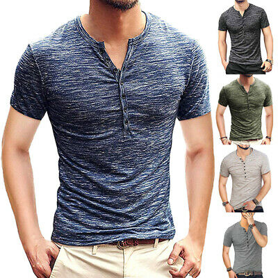 Mens Cotton Summer T Shirts Soft Short Sleeve Muscle Slim Fit Tops Casual Tee