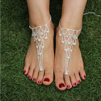 Women Girls Foot Chain Rhinestone Barefoot Wedding Bride Sandal Beach Anklet C