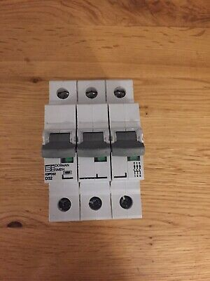 Dorman Smith 32 Amp Type D Circuit Breaker Mcb K3PD32 3 Phase Pole