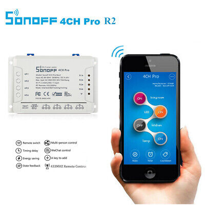 SONOFF 4CH Pro R2 4-Gang Din Rail Mount 433.93MHz RF Remote WiFi Smart Switch UK
