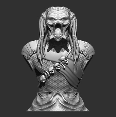 Predator Bust File Stl 3D printing created ZBrush Figurine 3D Print Assembly