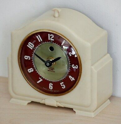 VINTAGE 14cm Smiths Repeater Bakelite Mantel Clock - Antique Art Deco Desk Clock