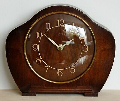 VINTAGE 14cm Smiths Sectric Bakelite Mantel Clock - Antique Art Deco Desk Clock