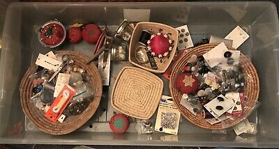 Vintage Sewing Lot - Whole Bin: Buttons, Scissors, pin cushions, lots of stuff!